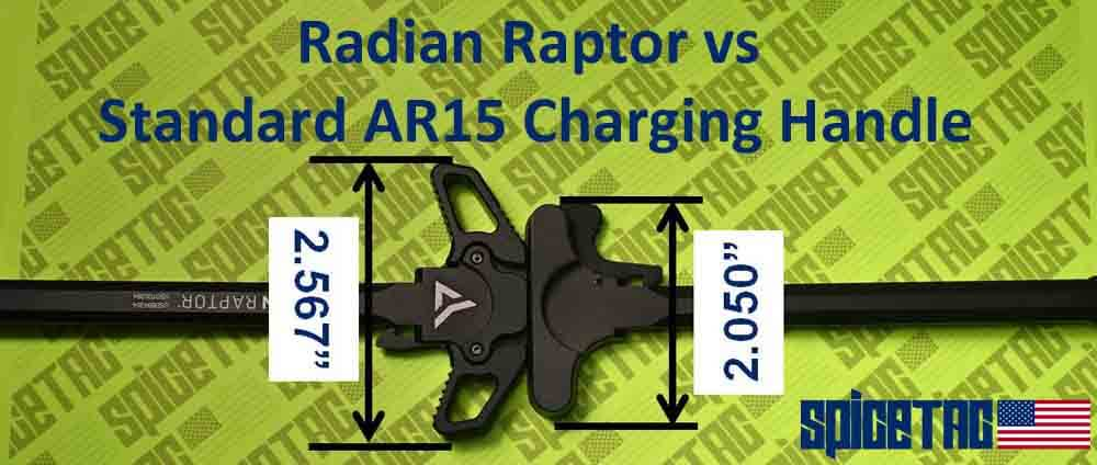 Raptor Charging Handle vs Standard AR15 Charging Handle Dimensions